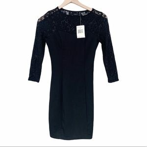 Guess NWT Black Lace Long Sleeve Bodycon Dress